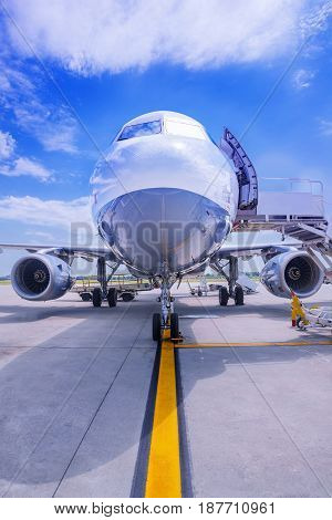 airplane on the airfield gets prepared for take off