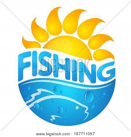 Fish and sun silhouette. Symbol for fishing design.