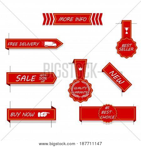 Set of red price tags, labels, stickers, arrows and ribbons. Isolated on white. Vector illustration.