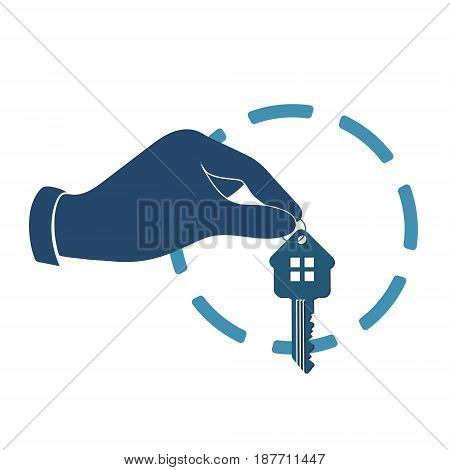 The key to the house in the hand silhouettes for business