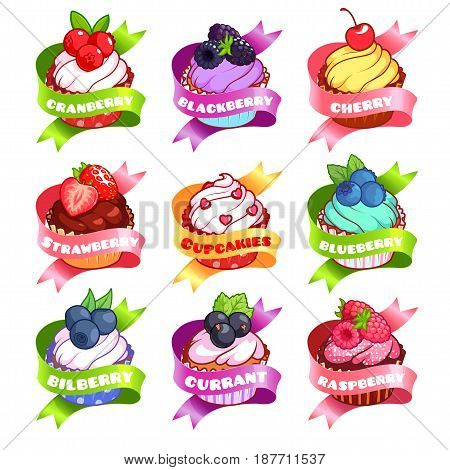 Nine stickers with ribbon and different cupcakes. Cranberry blackberry cherry strawberry cloudberry blueberry bilberry currant and raspberry flavor. Vector illustration isolated on a white background.