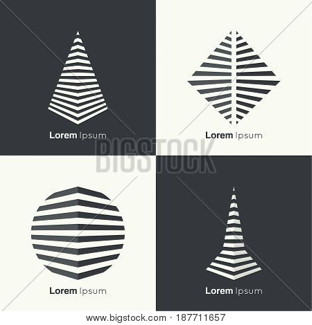 Vector set of abstract geometric shapes of the strips. 3d logo. pyramid, rhombus, ball, square