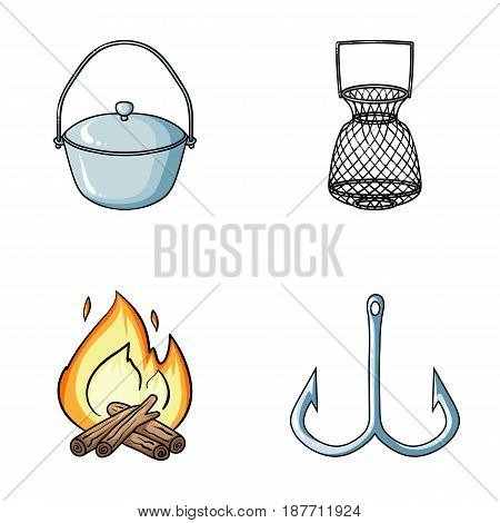 Catch, hook, mesh, caster .Fishing set collection icons in cartoon style vector symbol stock illustration .