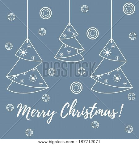 Vector Illustration Of Christmas Tree Origami Folded And Hanging On The Ropes.