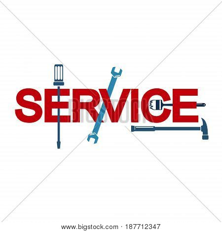 Service sign with tool for repair vector