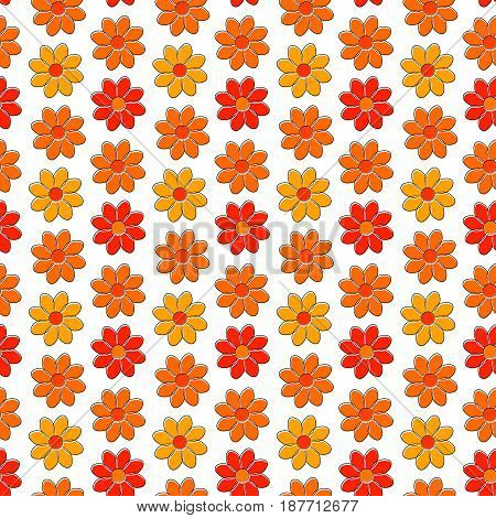 Seamless pattern with yellow and red camomiles