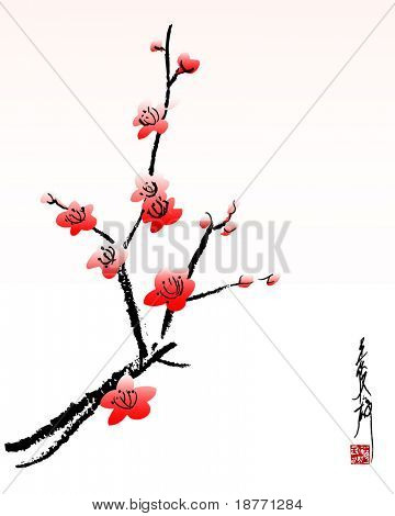 vector illustration of cherry blossom painting
