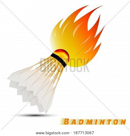 shuttlecock with red orange yellow tone fire in the white background. sport ball logo design. badminton logo. vector. illustration. graphic design.