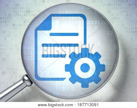 Database concept: magnifying optical glass with Gear icon on digital background, 3D rendering