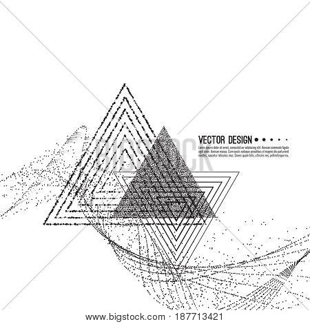 Abstract techno background with atom, molecule triangle. Technology, technical vector. Dynamic stream fragments of dot. Modern black and white design  t-shirts. Monochrome contemporary illustration.