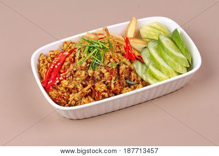 Spicy Roasted Mince Chicken With Yellow Curry Paste ,call Khua Kling