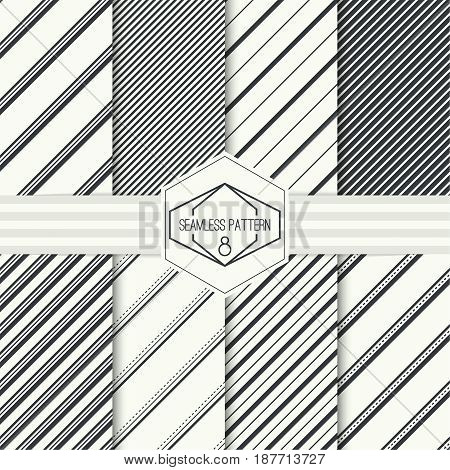 Vector set seamless pattern with hipster vintage old banner. Repeating geometric shapes, diagonal stripe. collection