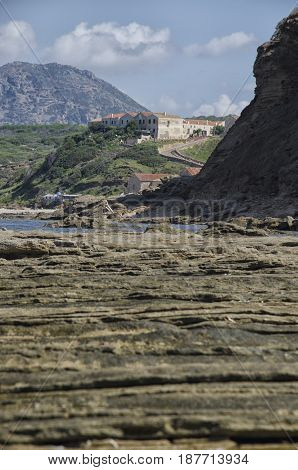 View of geological layers on the Italian coast