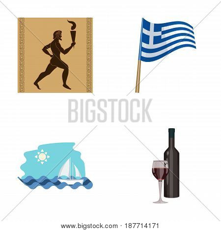 Greece, running, wine, flag .Greece set collection icons in cartoon style vector symbol stock illustration .