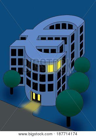 Bank building solving a crisis at night