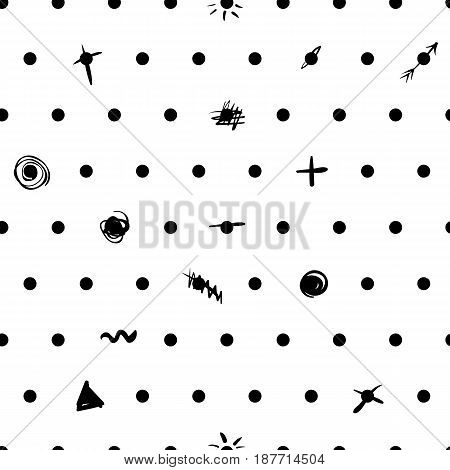 Vector seamless patern with dots and symbols. Black and white minimalism.