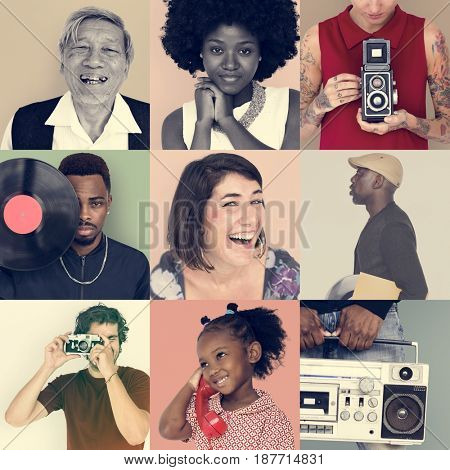 Collection pf people with vintage retro media