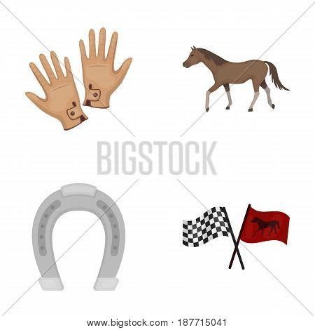 Race, track, horse, animal .Hippodrome and horse set collection icons in cartoon style vector symbol stock illustration .