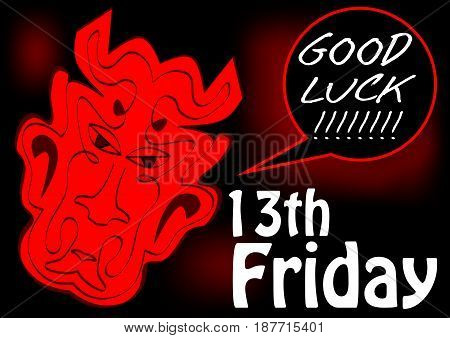 Friday 13th, good luck card with red devil head. Red drawing on black background. Vector EPS10