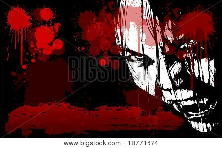 vector illustration of grunge female vampire