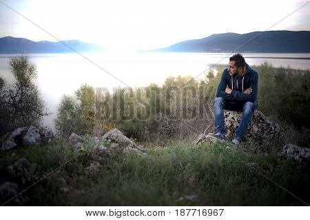 Young Handsome Male Model In Nature