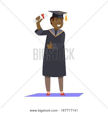 Happy smiling african man graduates in graduation gowns holding diplomas in their hands isolated background. Vector illustration concept graduation ceremony cartoon style