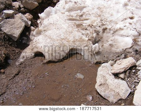 The arrival of spring and the melting of snow masses