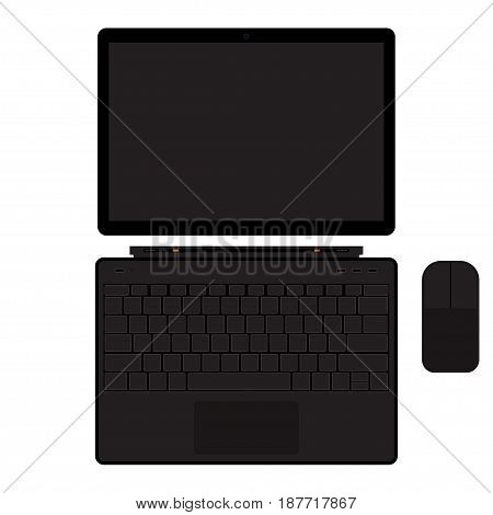 Tablet pc with keyboard and mouse manipulator. Touch screen laptop. Laptop with tablet mode. Isolated on white background. Vector illustration.