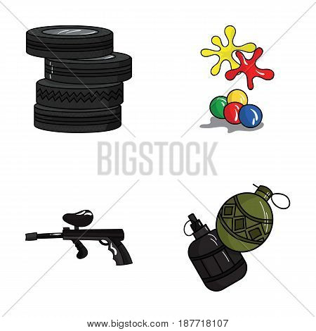 Competition, contest, equipment, tires .Paintball set collection icons in cartoon style vector symbol stock illustration .