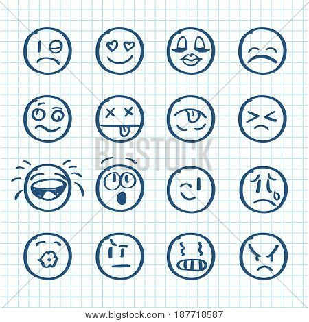 Set of hand drawn smiles on realistic paper. Vector illustration