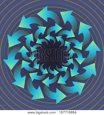 Circle abstract object composed of blue rotating arrows on light purple background, optical art object, vector EPS 10