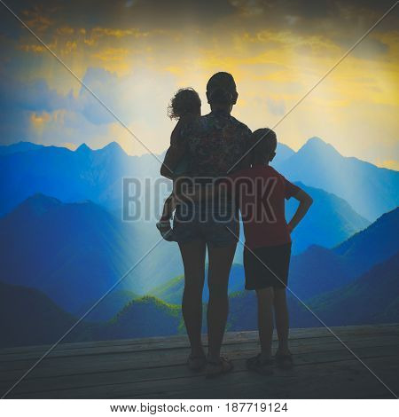 Family Watching Sunset Above The Valley. Instagram Stylisation