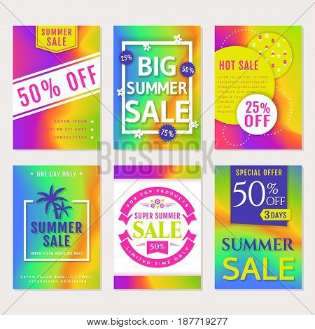 Summer sale. Set of banners flyers or labels. Discount templates with abstract colorful background. Vector collection.