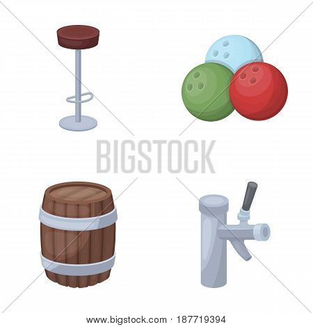 Restaurant, cafe, chair, bowling ball .Pub set collection icons in cartoon style vector symbol stock illustration .