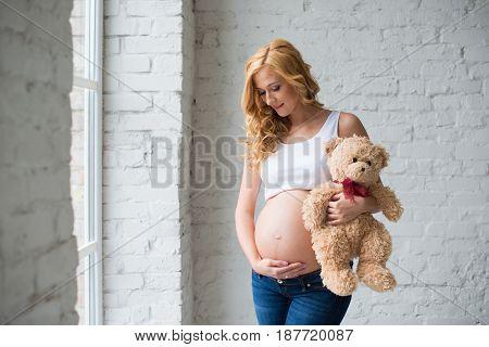 Lovely pregnant girl with a teddy bear