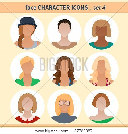 Female faces avatars. Character icons. Vector illustration set 4
