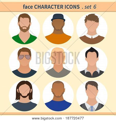Male faces avatars. Character icons. Vector illustration set 6