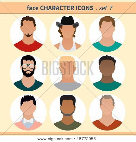 Male faces avatars. Character icons. Vector illustration set 7