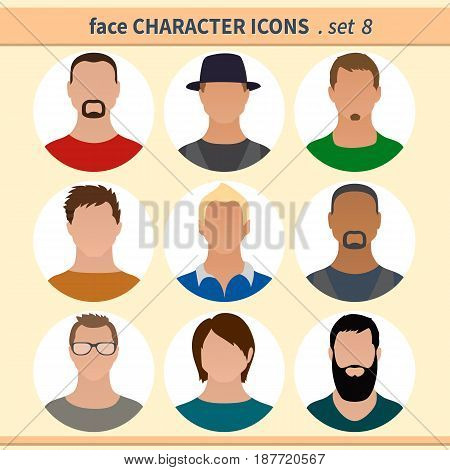 Male faces avatars. Character icons. Vector illustration set 8