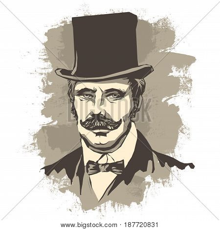 Vector illustration, portrait of a banker, businessman with a mustache, in a bow tie and hat of a cylinder on a vintage background