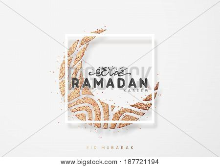 Month Ramadan greeting card with arabic calligraphy Ramadan Kareem. Islamic background half a month.