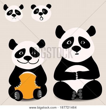 Baby funny cartoon bear panda sitting on a white background, with various emotions. Vector illustration.