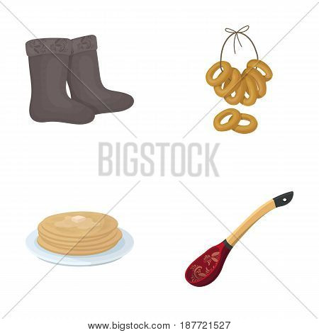 Felt, boots, drying, gingerbread .Russia country set collection icons in cartoon style vector symbol stock illustration .