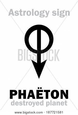 Astrology Alphabet: PHAËTON, hypothetic destroyed planet (between Mars and Jupiter, now Asteroids belt). Hieroglyphics character sign (single symbol).