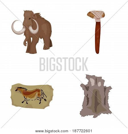 Primitive, mammoth, weapons, hammer .Stone age set collection icons in cartoon style vector symbol stock illustration .