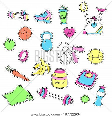 Sport stickers set. Hand drawn fitness patch badges. Gym equipment doodles for textile, embroidery and labels. Trendy set of sketchy workout and training stickers and pins. Sport tools, healthy food