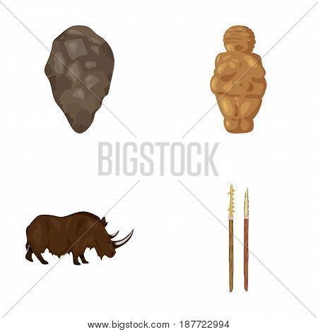 Primitive, woman, man, cattle .Stone age set collection icons in cartoon style vector symbol stock illustration .