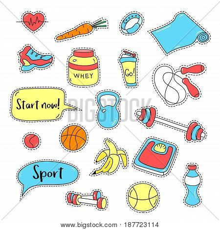 Sport stickers set. Hand drawn fitness patch badges. Gym equipment doodles for textile, embroidery and labels. Trendy set of workout and training stickers. Sport tools, healthy food and quote bubbles.