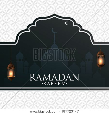 Ramadan Kareem background with black and white arabic design and lanterns. Ornate vector banner greeting card advertising discount poster.
