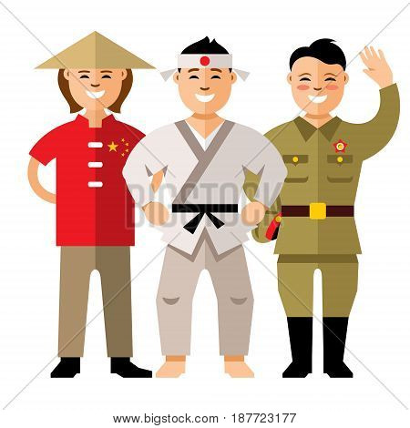 Chinese, Japanese and North Korean. Isolated on a white background